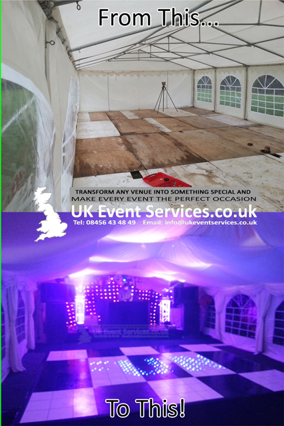transforming a standard marquee into something a little more special ready for a party